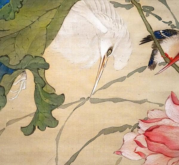 Oiseaux parmi les lotus - détail - Oeuvre de Okamoto Shuki (1807-1862) - Cernuschi