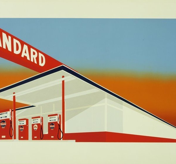 Ruscha, Edward (b. 1937): Standard Station, 1966. New York, Museum of Modern Art (MoMA) Screenprint, printed in color, composition: 19 1/2 x 36 15/16 (49.5 x 93.8 cm). John B. Turner Fund. 1386.1968 *** Permission for usage must be provided in writing from Scala. May have restrictions - please contact Scala for details. ***